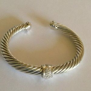 David Y Center Diamond Station Bangle 7mm Cable